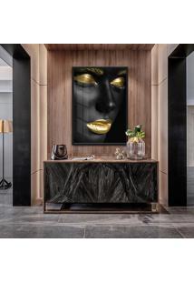 Quadro Zira 90X60Cm Mulheres Negras Maquiagem Dourada Moldura Vidro