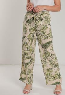 Calça Pantalona Feminina Facinelli Folhagem