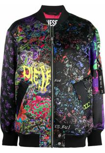 Diesel Jaqueta Bomber G-Kitty Com Patchwork Floral - Preto