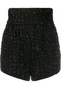 Saint Laurent Short Cintura Alta Texturizado - Preto