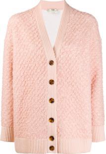 Fendi Cardigan Texturizado Decote Em V - Rosa