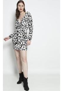 Vestido Com Transpasse & Amarraã§Ã£O- Off White & Preto