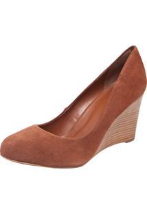 Scarpin My Shoes Bico Redondo Anabela Alta Caramelo