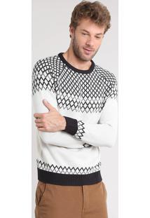 Suéter Masculino Com Estampa Geométrica Em Tricô Kaki Claro