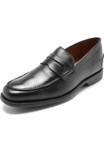 Sapato Social Couro Richards Pesponto Preto