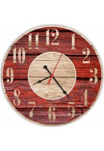Relógio De Parede Decorativo Vintage Madeira Vermelho 35Cm Médio