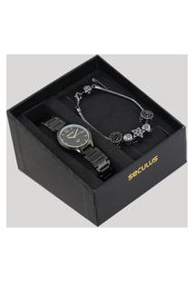Kit De Relógio Analógico Seculus Feminino + Pulseira - 77017Lpsvpa2K Dourado