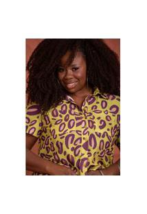 Camisa Cropped Animal Print Plus Size Domenica Solazzo Camisas Amarelo