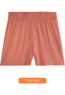 Shorts Rosê Running Em Moletinho Plus
