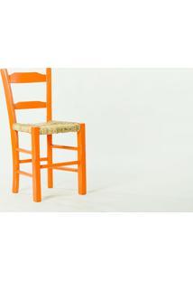 Cadeira De Palha Laranja Pestre - Cadeira De Madeira E Palha/Palhinha - 40X41X82,5 Cm