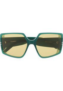 Courrèges Eyewear Óculos De Sol Oversized - Verde
