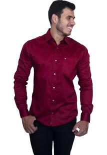 Camisa Social Sport Victor Deniro Vinho Acetinado