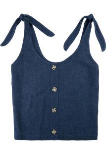 Blusa Azul Marinho Com Linho E Amarração