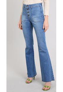 98961fc8e CEA. Calça Jeans Feminina Flare Barra Desfeita Azul Médio