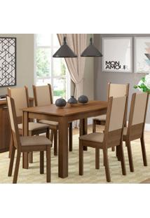 Conjunto De Mesa Com 6 Cadeiras De Jantar Tabáta Linho Rústico Pérola