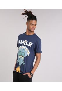 Camiseta Masculina Lula Molusco Manga Curta Gola Careca Azul Marinho