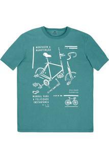 Camiseta Masculina Regular Em Malha De Algodão Com Estampa Frontal