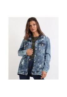 Jaqueta Jeans Feminina Oversize Destroyed Com Bolsos Azul