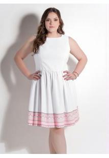 fcdb1560e6df33 Posthaus Vestido Sarja Pique Elastano Decote Redondo Midi Evasê Moderno  Plus Size Zíper Estampado Quintess Branco Rosa Clássico Princesa E