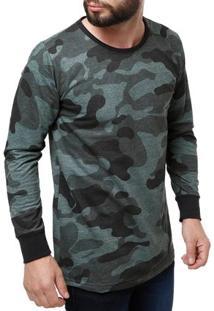 Camiseta Moletinho Manga Longa Masculino Verde