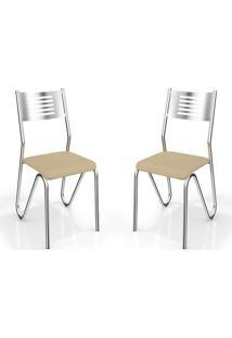 Kit 2 Cadeiras Nápolis Cromada Nude Kappesberg