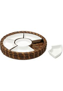 Petisqueira De Rattan Com Divisória De Cerâmica - Bon Gourmet - Marrom