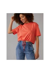 Amaro Feminino T-Shirt Com Cintura Regulável, Laranja