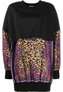 Versace Jeans Couture Blusa Oversized Com Estampa De Leopardo - Preto