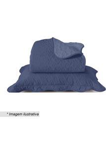 Conjunto De Colcha Boutis Casal- Azul- 3Pã§S- Sansantista