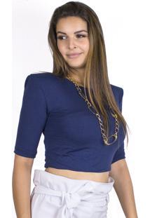 Cropped Ombreiras Dress Code Moda Marinho