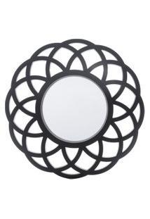 Espelho Royal Redondo De Parede Preto