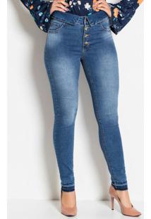 Calça Jeans Sawary Cintura Alta Com Botões