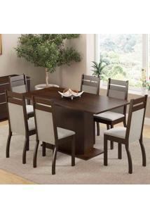 Conjunto Sala De Jantar Mesa E 6 Cadeiras Versalhes Madesa Tabaco/Pérola