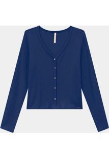 Blusa Malha Canelado Azul