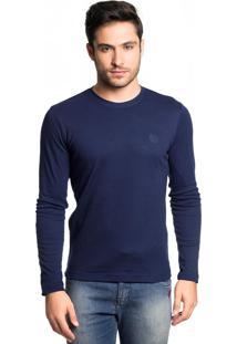 Camiseta Manga Longa Tony Menswear De Algodão Azul Marinho