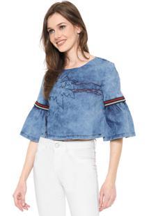 Blusa Jeans Cropped Lez A Lez Bordada Azul