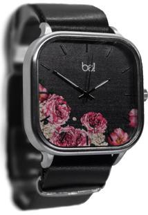 Relógio Flores Bewatchoficial Metal Pulseira Couro Preta