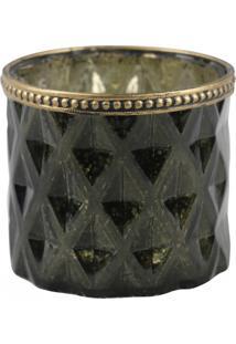 Castiçal Decorando Com Classe Vidro Verde C/ Dourado