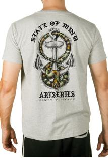 Camiseta Artseries Ancora Com Cobra Costas Cinza