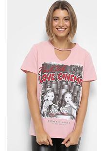 Camisetas Coca-Cola Choker Love Cinema Feminina - Feminino-Rosa