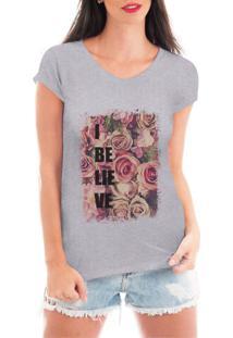Camiseta Criativa Urbana Tshirt I Believed Cinza