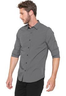 Camisa Guess Slim Quadriculada Preta/Branca