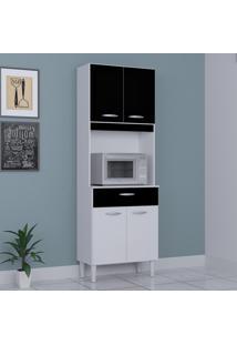Cozinha Compacta 4 Portas 1 Gaveta Kit Cássia 6175 Branco/Preto - Poquema