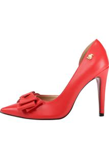 Scarpin Salto Alto Week Shoes Corte Lateral Vermelho