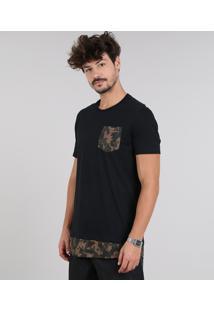 Camiseta Masculina Longa Com Bolso Estampado Camuflado Manga Curta Gola Careca Preta