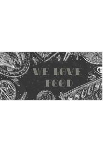 "Tapete Transfer ""We Love Food""- Preto & Branco- 90X4Tapetes Junior"