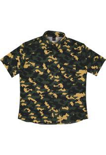 Camisa Botão Alkary Camuflada Amarelo Escuro