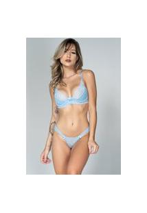 Conjunto Lingerie Bella Fiore Modas Com Renda E Aro Azul Claro