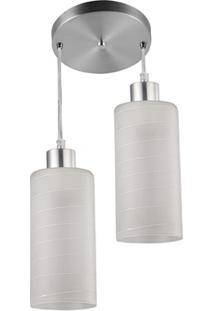 Pendente Cilíndrico Para 2 Lâmpadas Em Alumínio Jasmin