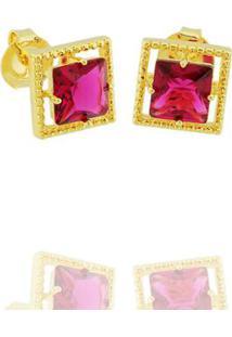 Brinco Solitário Quadrado Cristal Rosa Semi Joia - Feminino-Pink